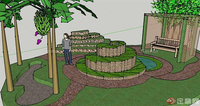 某小型庭院小花园设计su模型图片