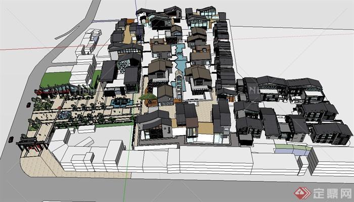 某现代中式商业街及建筑设计su模型[原创]图片