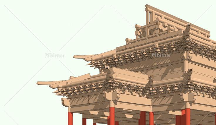 中式古建殿堂梁框架结构sketchup模型