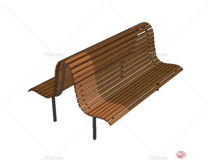 某现代风格户外对称长椅设计su模型[原创] - sketchup图片