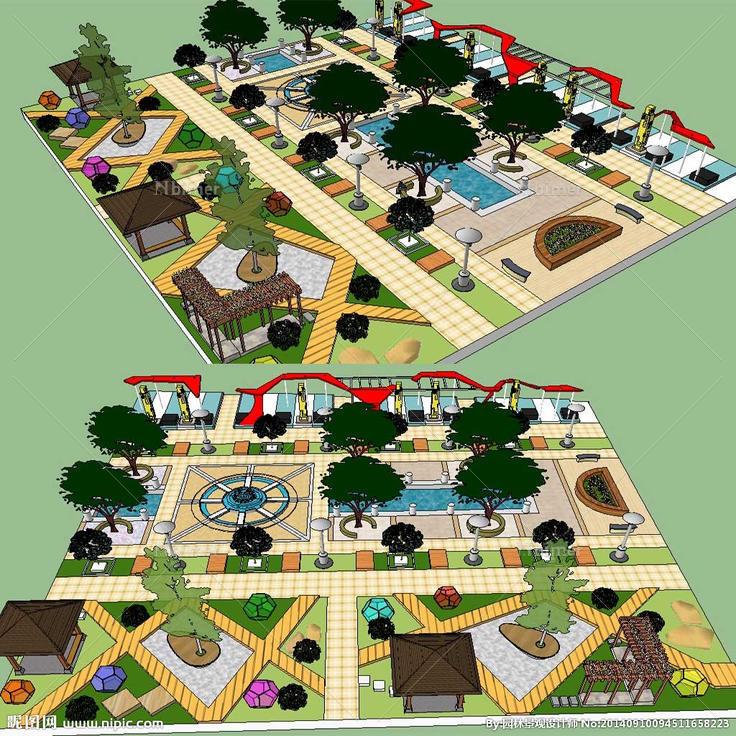 广场su草图 广场草图模型 广场景观模型,草图大师方形休闲广场设计