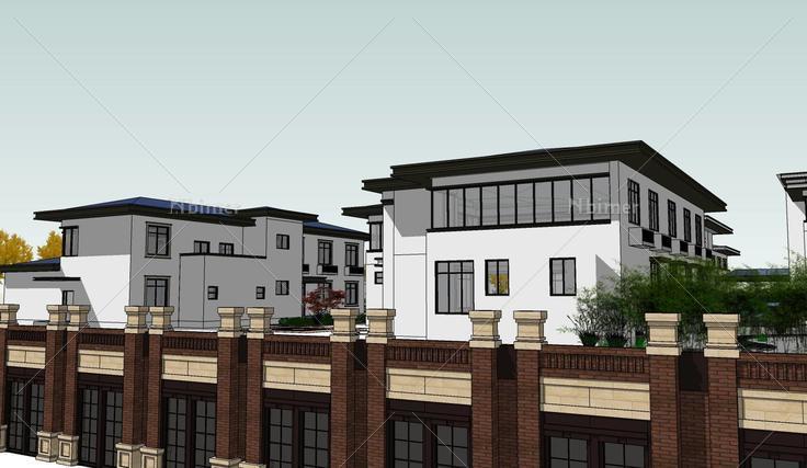 新中式坡屋顶会所建筑sketchup模型(146652)su模
