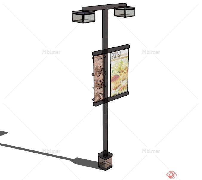 现代广告牌路灯设计su模型素材[原创]