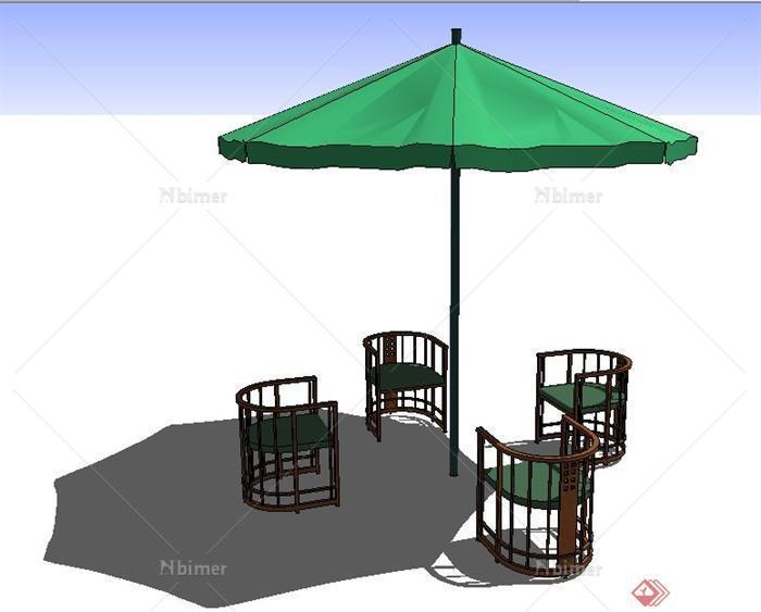 现代中式风格椅子及遮阳伞su模型