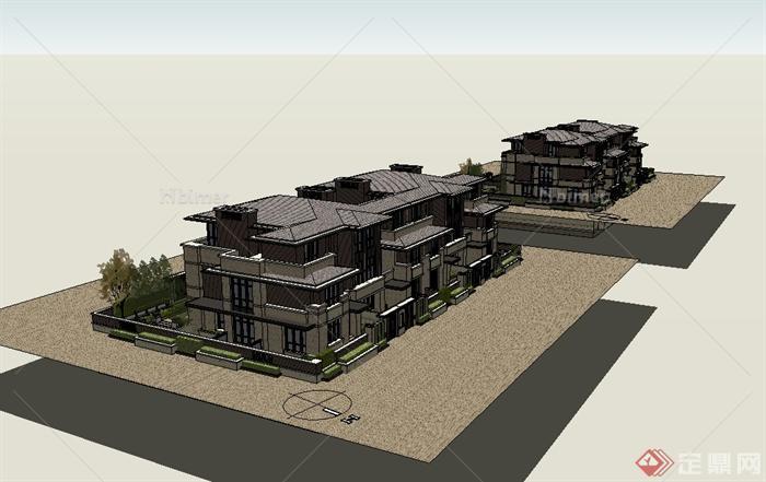 某现代中式风格详细联排小区别墅设计su模型[原创