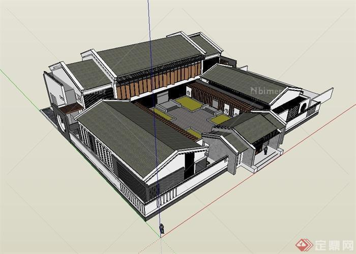 现代中式风格四合院会所建筑设计su模型[原创]