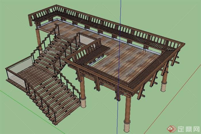 中式风格木制观景平台su模型