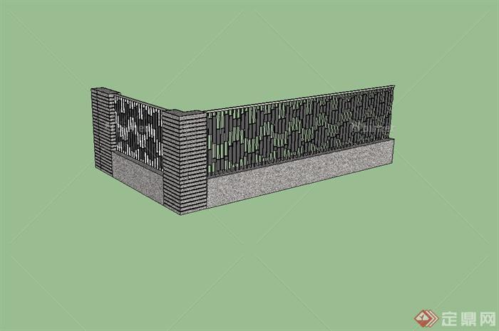 某现代风格栏杆围墙设计su模型[原创]图片