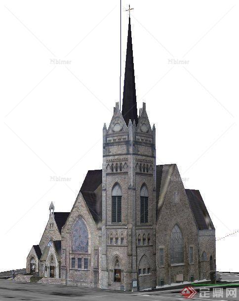 欧式风格教会教堂建筑设计su模型图片