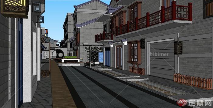 新中式风格商业街及建筑设计su模型[原创]
