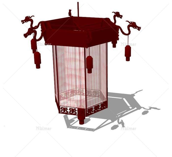 古典中式风格室内灯笼设计su模型[原创]