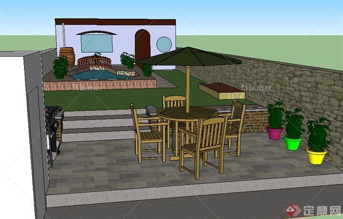 某居住后院小庭院花园设计su模型