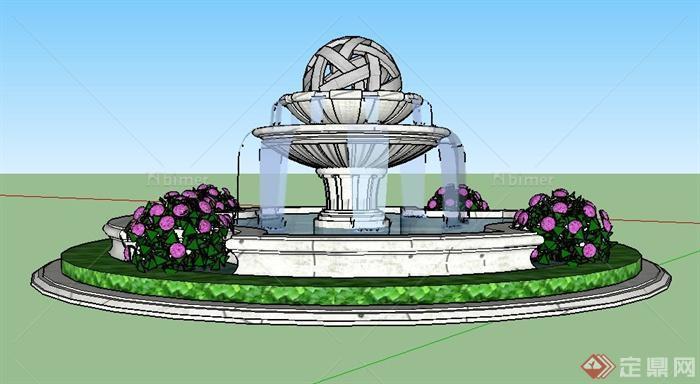 园林景观圆形喷泉水景设计su模型