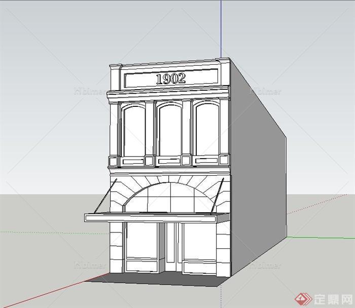 某欧式两层小型商铺建筑设计su模型