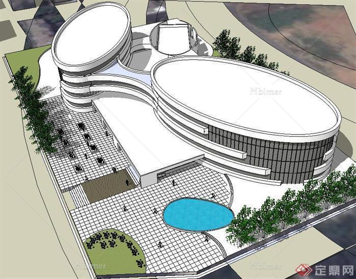 造型新颖城市博物馆建筑方案su精细设计模型[原创