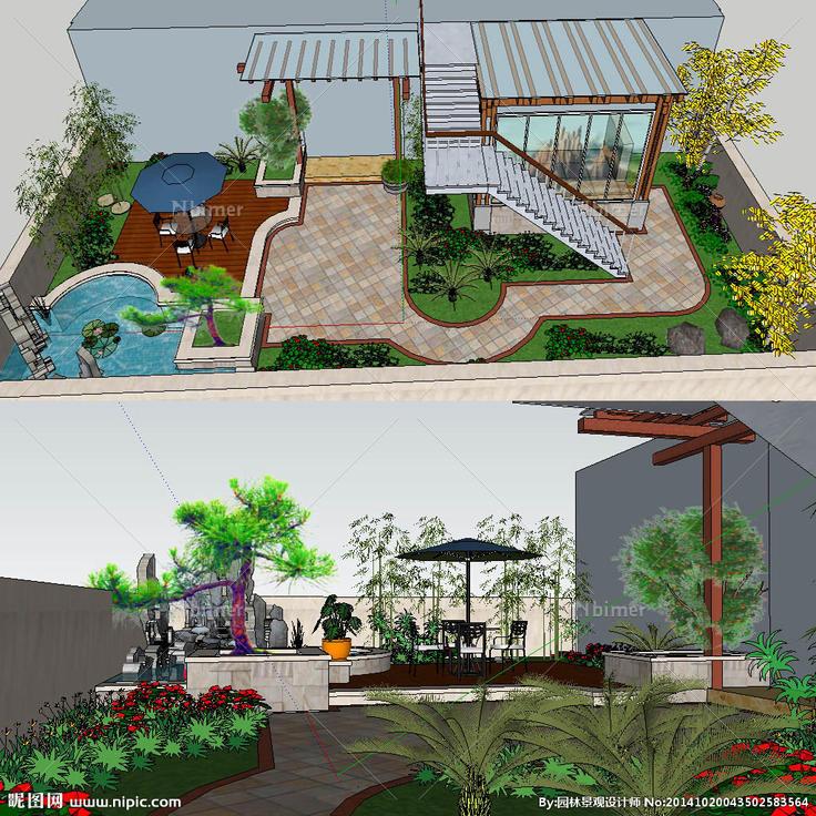 中式屋顶花园景观草图图片图片