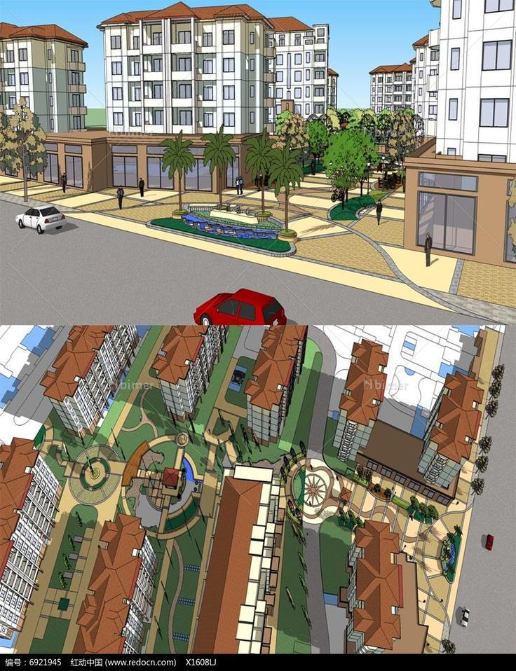 欧式住宅小区大门入口景观设计