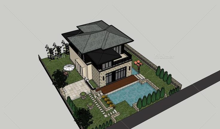 现代坡屋顶别墅设计建筑模型(107829)su模型下载图片