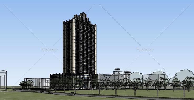 004artdeco风格草图高层带裙房(139718)su区域下展示模型平面设计酒店图片