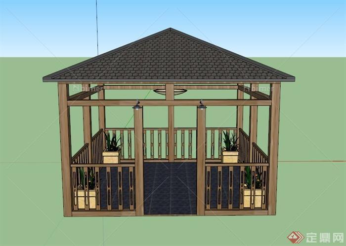 某欧式置花四角凉亭建筑设计su模型