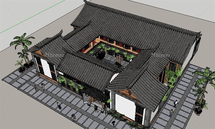 新中式四合院客栈别墅sketchup模型[原创]