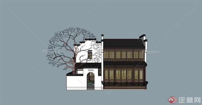 古典中式合院住宅建筑su模型素材