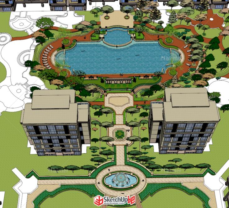 欧式游泳池建筑规划景观