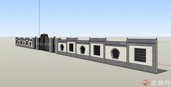 现代中式大门设计su模型(含围墙)[原创]图片