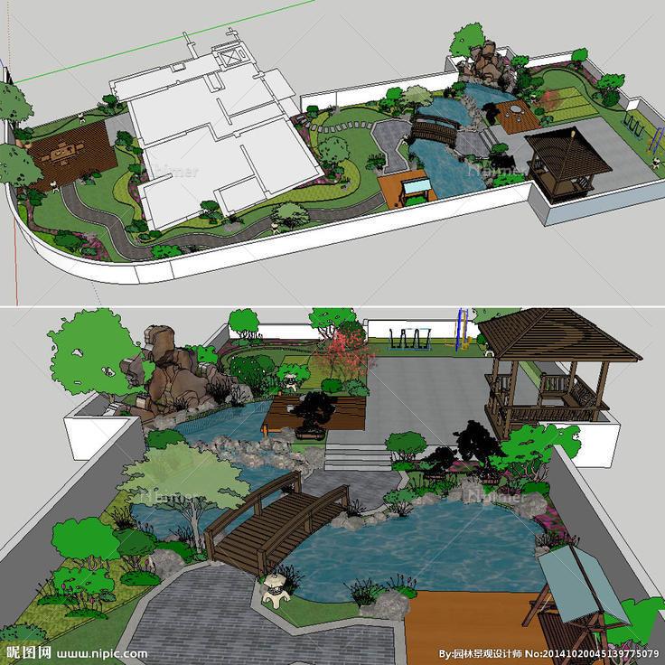 中式屋顶花园草图大师图片图片