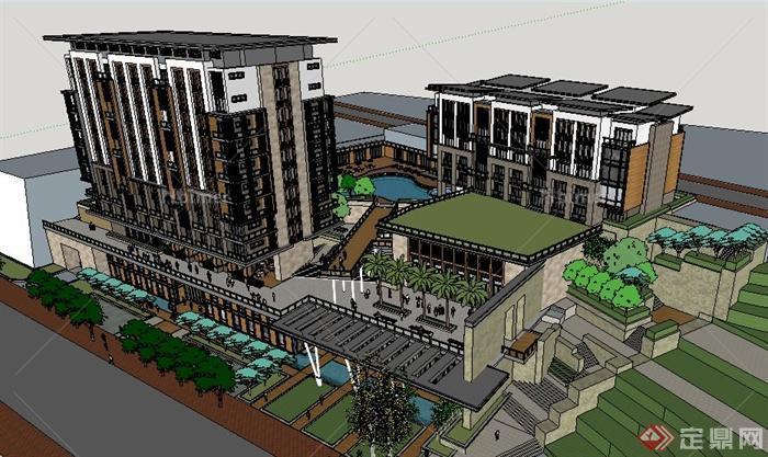 新亚洲风格山地酒店建筑设计su模型[原创]图片