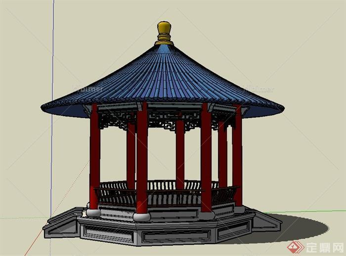 古典中式圆形景观亭子设计su模型