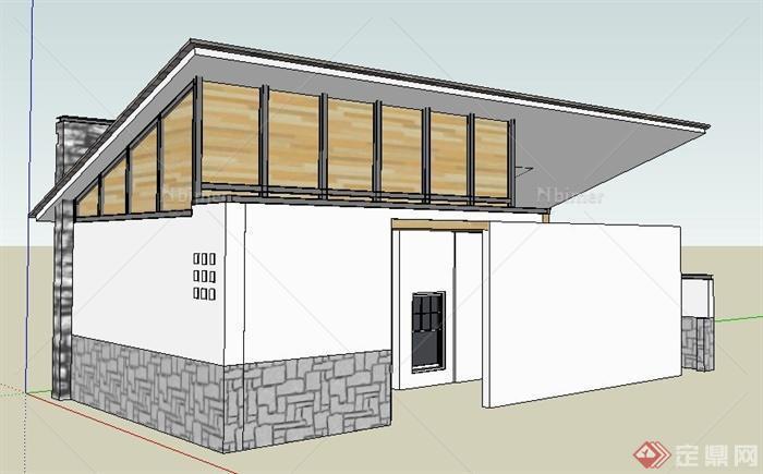 某现代中式风格公厕建筑设计su模型