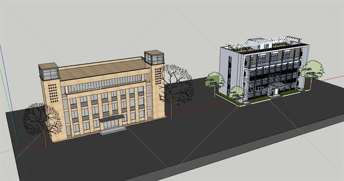 两栋现代四层办公楼建筑设计SU模型[原创]室内设计工作日志图片