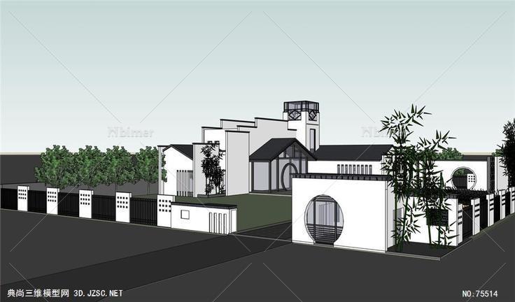 实体精模,有材质灯光,sketchup,新中式风格建筑以及庭院布置设计方案