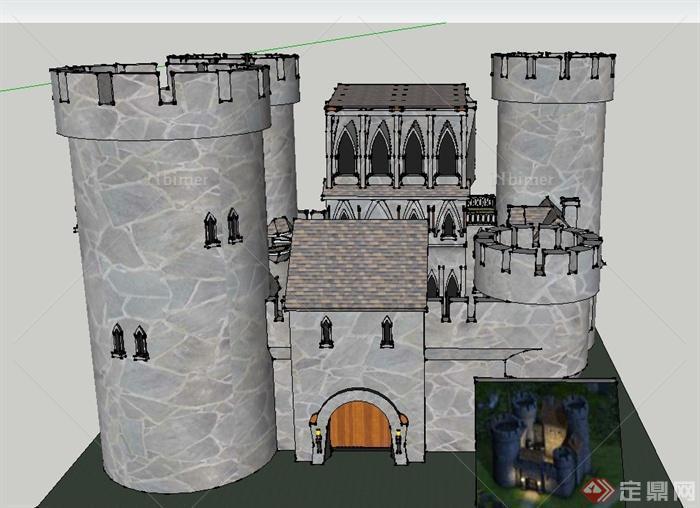 某欧式三层城堡建筑设计su模型