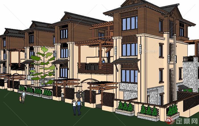 东南亚风格联排别墅建筑su精致设计模型[原创]
