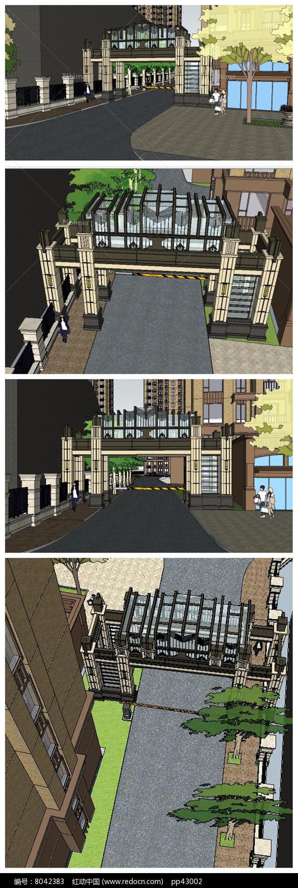 法式建筑风格小区入口大门su模型图片