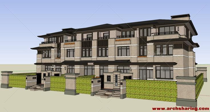 中式四联排单体绿化养护收费标准别墅图片