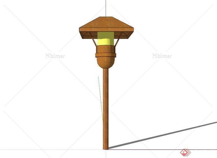 现代简约木制路灯设计su模型素材[原创]