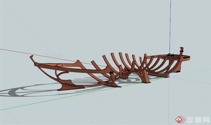 现代木船骨架雕塑设计su模型[原创]