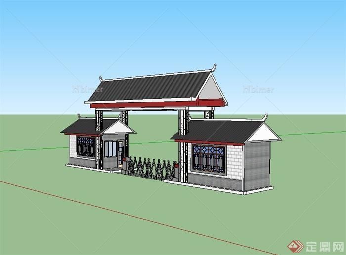 现代中式风格学校大门设计su模型