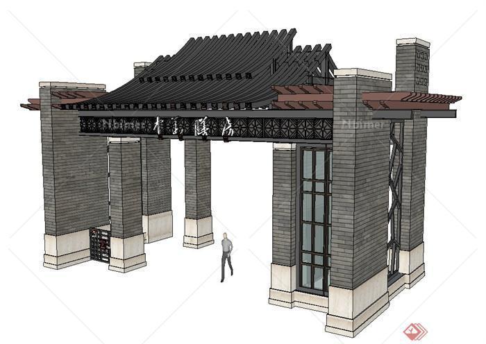 中式青砖大门门楼设计su模型[原创]