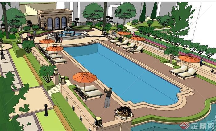 欧式小区游泳池设计su模型[原创]图片