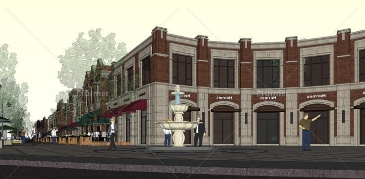 欧式风格沿街商业建筑与小高层住宅sketchup模型