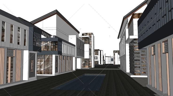 新中式商业街建筑sketchup模型