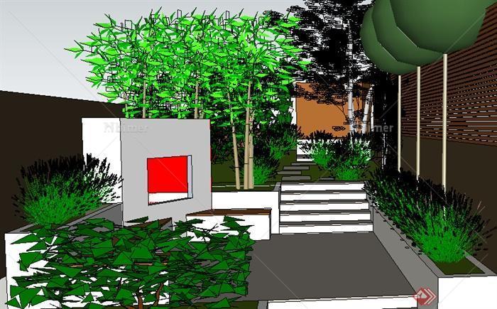 某室外庭院花园后院设计su模型素材