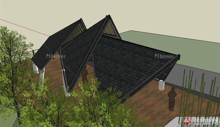 园林景观节点钢结构廊架设计su模型[原创]