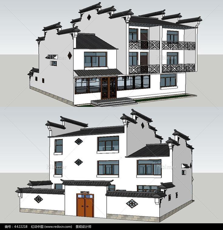 微派民居建筑景观su模型图片