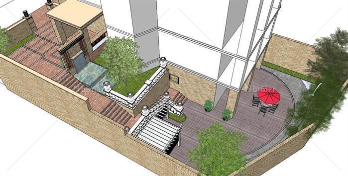 下沉别墅庭院景观设计方案su模型[原创]图片