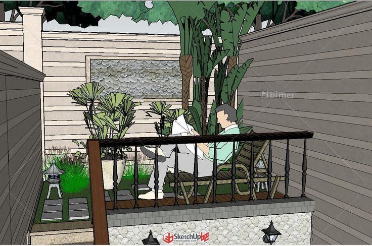 东南亚风地下室景观小庭院